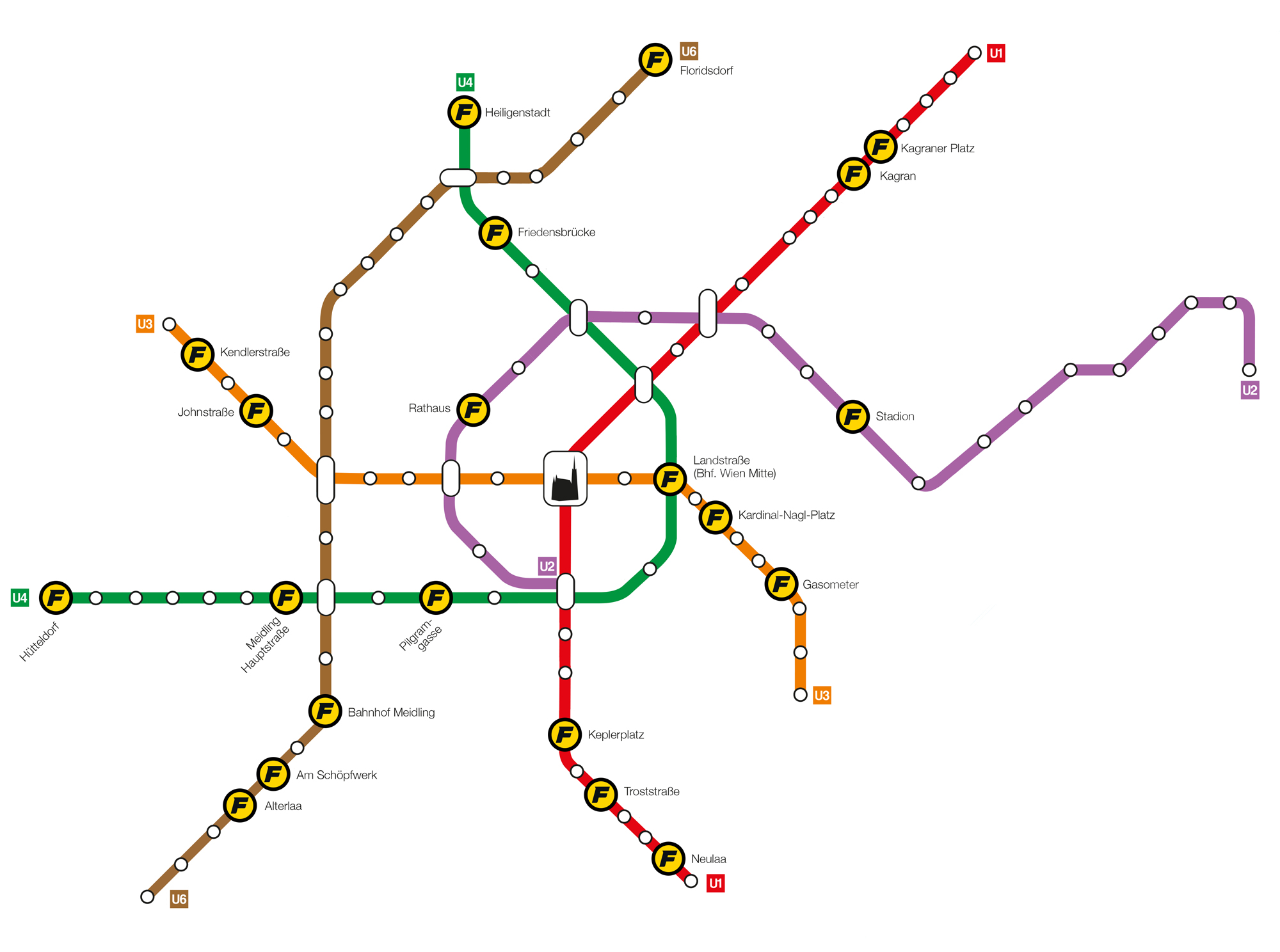 U-Bahn-Plan Wien mit FITINN-Studios